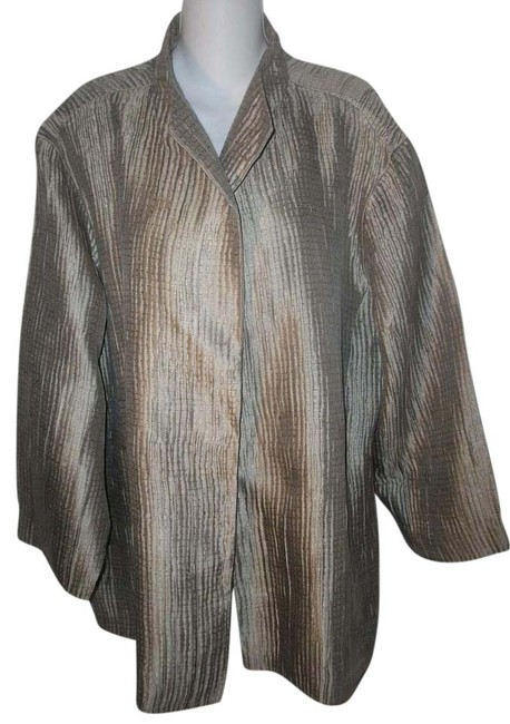 Item - Gold Open Front Silk/Acrylic Crinkled Ribbed Jacket Size 26 (Plus 3x)