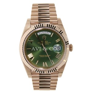 Rolex Rolex Day-Date 40 18K Everose Gold Watch Olive Green Roman Index Dial