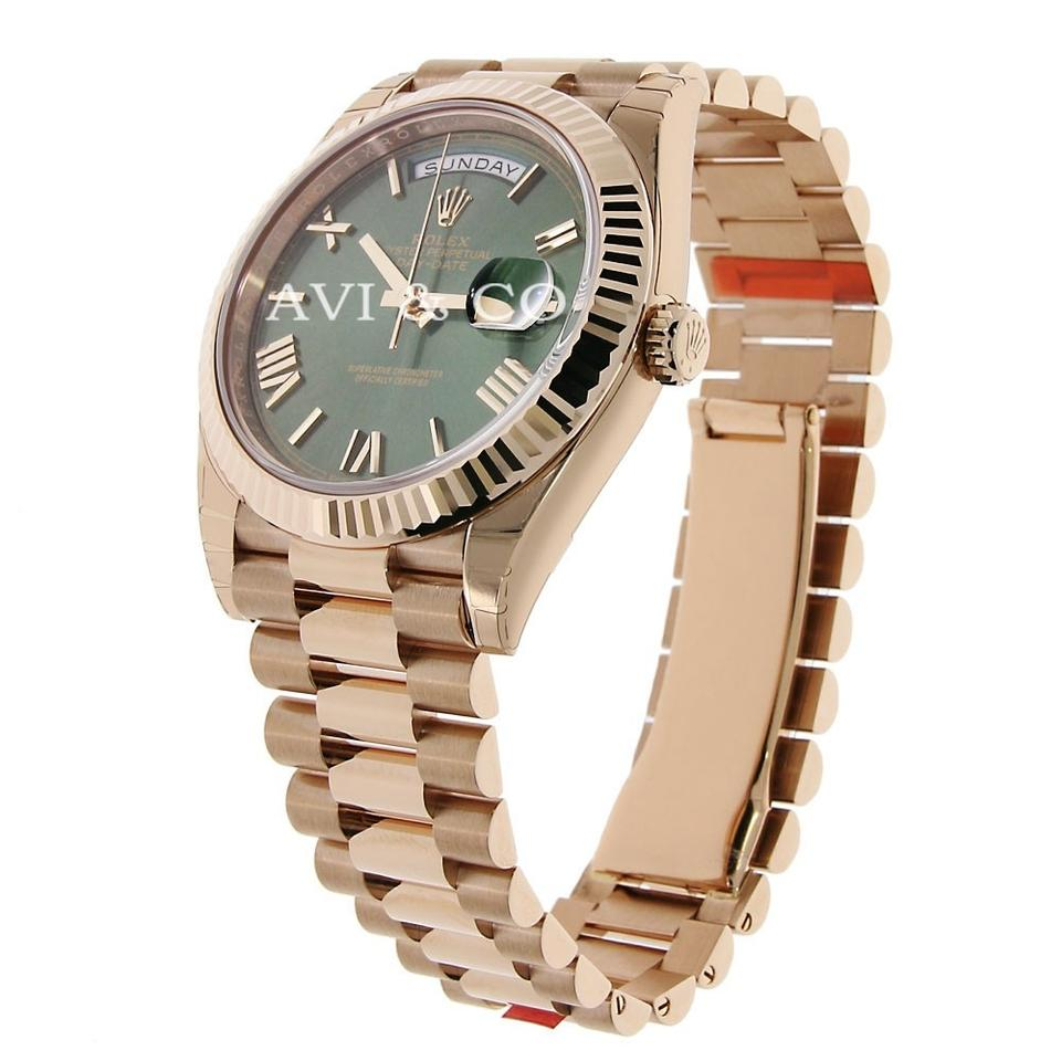 Rolex 18k Everose Gold Day Date 40 Olive Green Roman Index Dial Watch 10 Off Retail