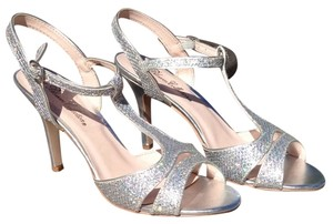 De Blossom Collection Sparkle Ankle Strap Silver Formal