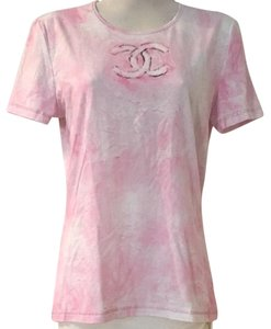 Chanel Blouse Pink Cotton White T Shirt Pink White