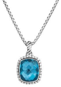 David Yurman Noblesse Pendant with Hampton Blue Topaz & Diamonds on Chain