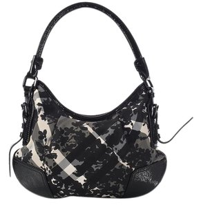 Burberry Bb.k1118.07 Flowers Nova Check Black Leather Hobo Bag