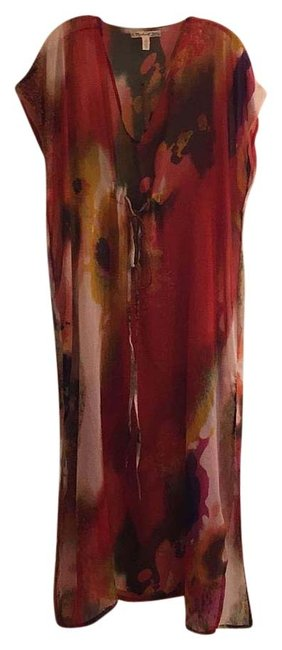 Item - Red Multi Caftan Cover-up/Sarong Size OS (One Size)