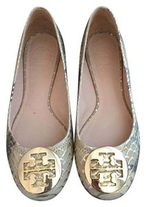Tory Burch Snakeskin Gold Embossed Nude/Gold Flats