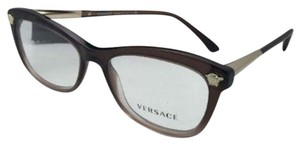 Versace New VERSACE Eyeglasses 3224 5165 52-17 Brown Transparent to Lilac