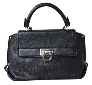 Salvatore Ferragamo Leather Sofia Satchel in Black