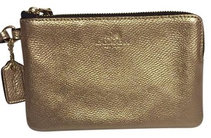 Coach Leather Wristlet in Gold
