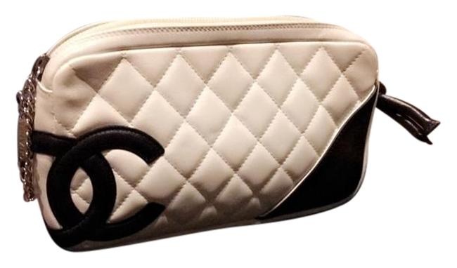 Item - Cambon White/Black Quilted Pochette White/Black Leather Baguette