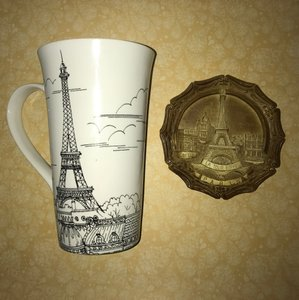 222 Fifth City Scenes Black and White Dreamy Paris Eiffel Tower Tall Latte Fine China Mug