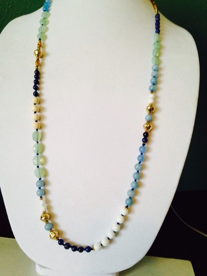 Nakamol Blue Hand-Knotted Long Mixed-Stone Necklace Image 4