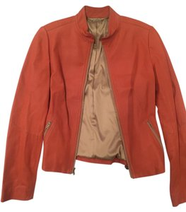 Elie Tahari Leather Orange Leather Jacket