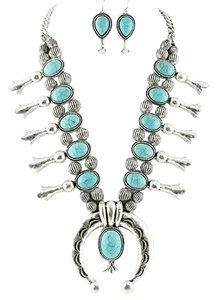 Aris Tribal Squash Blossom Necklace & Earrings Set-Turquoise