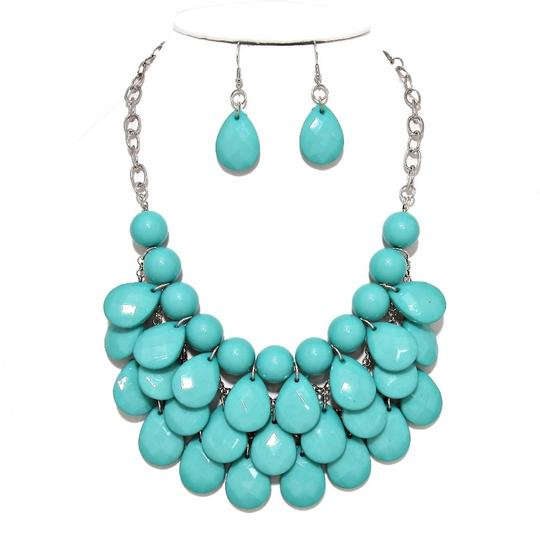 Other Turquoise Blue Teardrop Statement Bib Necklace Set and Jewelry Bag