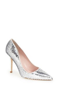 Kate Spade Sequins Italy silver Pumps