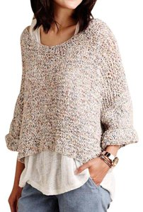 Mes Demoiselles Anthropologie Eyelet Knit Oversized Textured Bohemian Festival Sweater