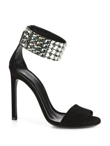 Gucci Rhinestone Suede Evening Luxury Embellished Black Sandals