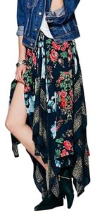Free People Midi Bohemian Asymmetrical Fly Away Swing Maxi Skirt Blue, Green, Red Multi