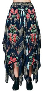 Free People Fp New Draped Long Gown Convertible Fly Away Green Swingy Floral Print Maxi Skirt Blue