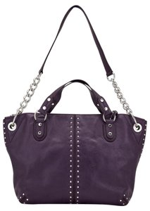 Michael Kors 12849 Studded Leather Satchel in Purple