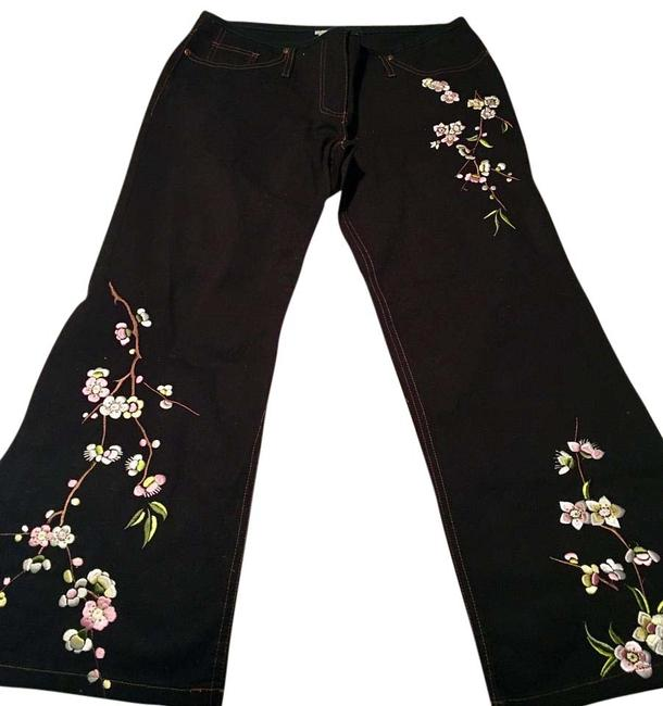 Item - Black with Pink/Green/White Embroidery Dark Rinse Japanese Flower Flare Leg Jeans Size 32 (8, M)