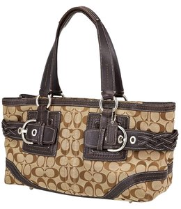 Coach 12847 Monogram Canvas Leather Trim Tote in Brown, Tan