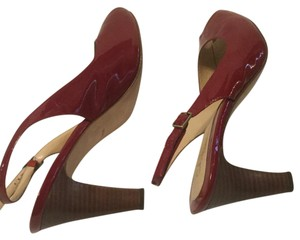Cole Haan Stacked Heel Red patent all leather peep toe slingback Pumps