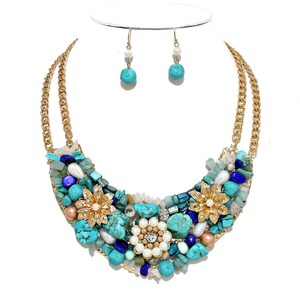 Turquoise Gem Stone Multicolor Gold Chain Flower Bib Collar Necklace Earring Set