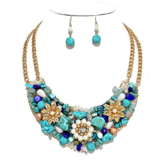 Other Turquoise Gem Stone Multicolor Gold Chain Flower Bib Collar Necklace Earring Set