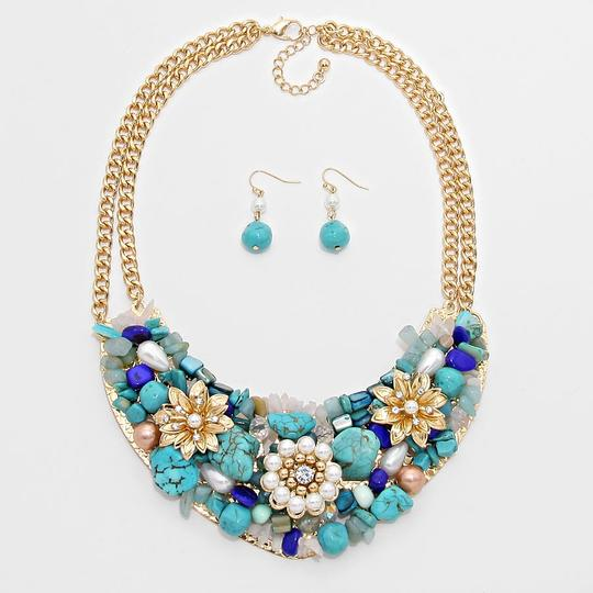 Other Turquoise Gem Stone Multicolor Gold Chain Flower Bib Collar Necklace Earring Set Image 1
