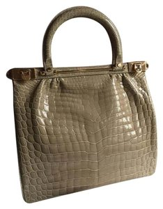 KWANPEN Crocodile Alligator Tote in Beige