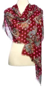 Burgundy & Brown 100% Polyester Woven Flower Print Scarf