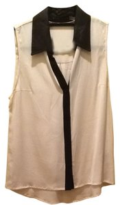 Alice + Olivia Top Black And White With Leather Collar