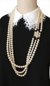 Chanel Chanel Triple Strands White Glass Pearl Necklace Pearl Flower 37