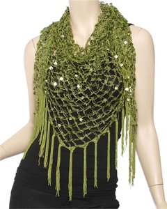 Other Olive 100% Polyster Square Sequined Triangle Shawl