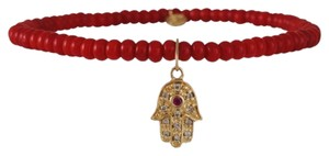 sydney-evan sydney evan red coral bracelet with hamsa