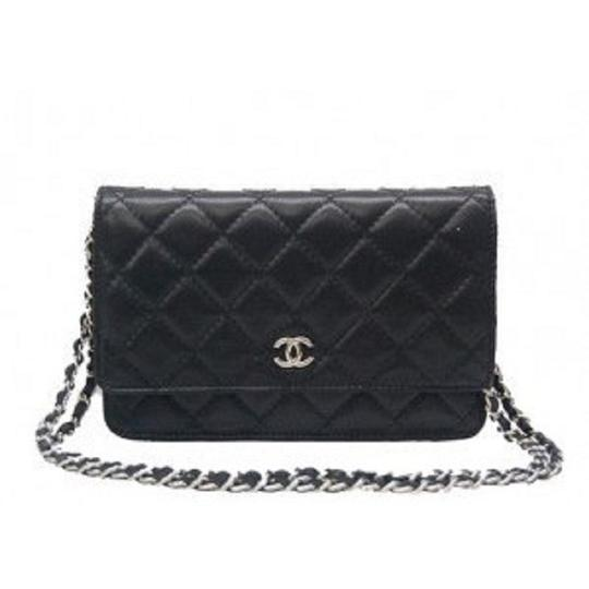 ae6df27ea66f Chanel Wallet on Chain Quilted Lambskin Silver Hardware Black Leather Cross  Body Bag - Tradesy