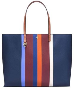 Tory Burch Tote in Navy Blue w/Stripes