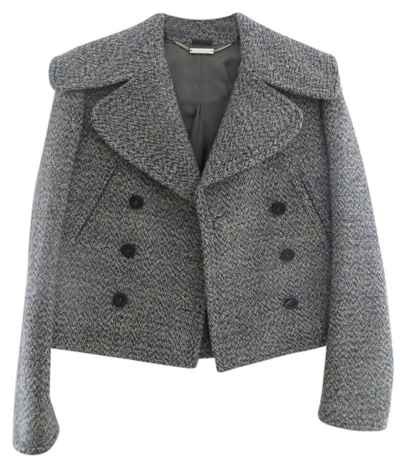 Item - Black Grey White Lilac Short Wool In Black/Grey/White/Lilac Knit Coat Size 4 (S)