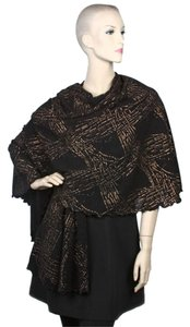 100% Polyester black Knit Ruana W/Metallic Print