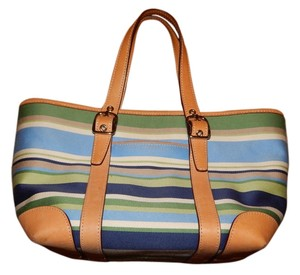 Coach Preppy Tote in Blue Green Tan