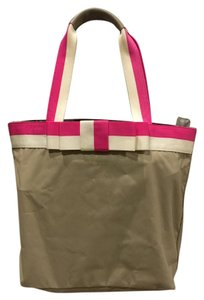 Kate Spade Tote in Tan with pink and white bow