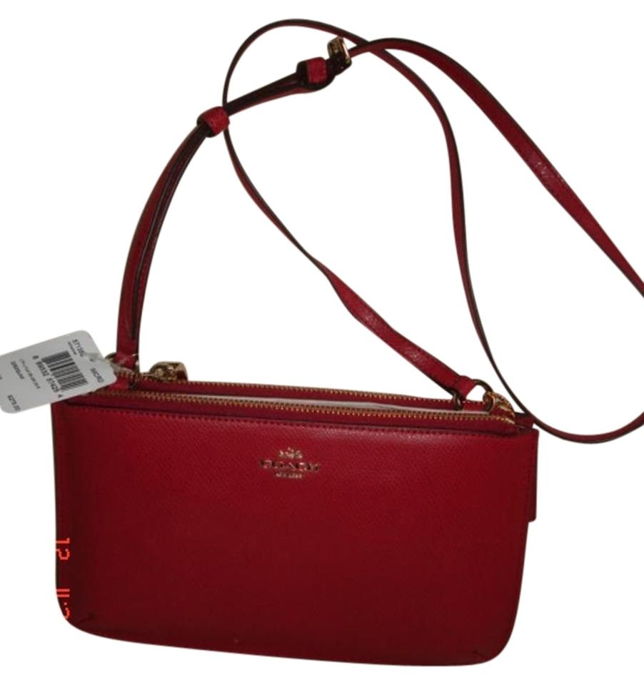 9e87ea35f Coach Lyla W Wristlet/ Purse W/ Shoulder Strap Nw Red Leather Cross ...