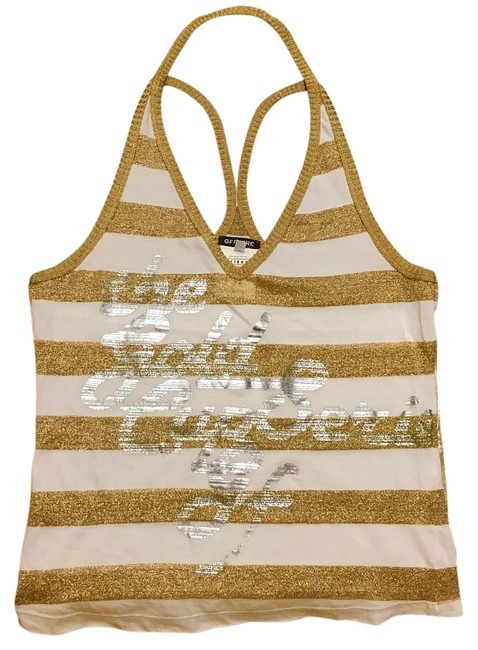 Item - White Gold Silver Striped Racerback Tank Top/Cami Size 4 (S)