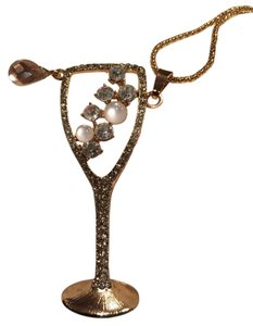 Betsey Johnson Pink champagne glass long suetter necklace 29long