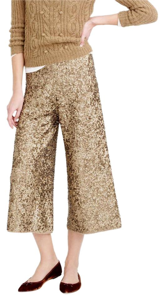 02a9c4dd J.Crew Party Holiday Sequin Sparkle Capri/Cropped Pants Saddle Brown Image 0  ...