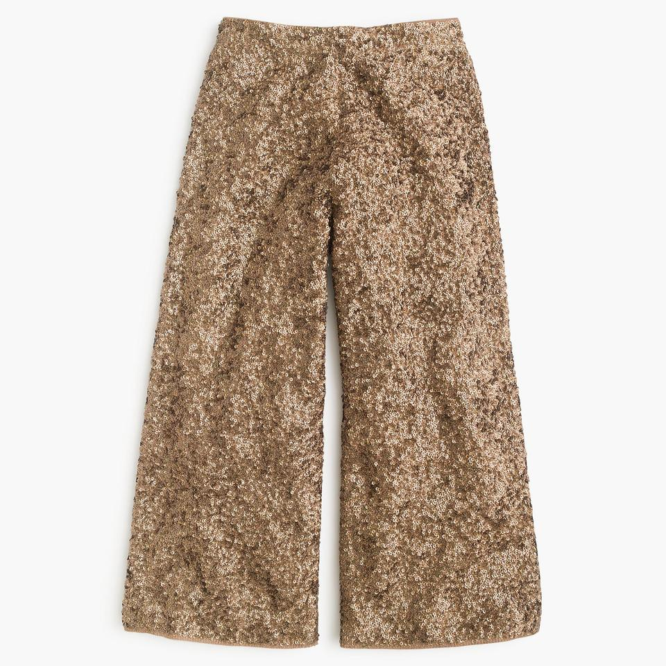 b07a8484 J.Crew Party Holiday Sequin Sparkle Capri/Cropped Pants Saddle Brown Image  11. 123456789101112