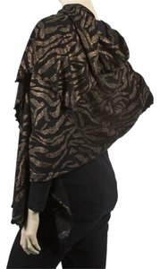 Wool/black Metallic Dot-printed Shawl W/ Lettuce Edge: Animal Print