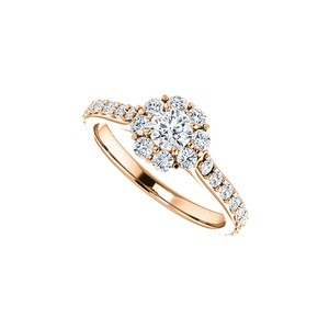 LoveBrightJewelry Silver Rose Gold Plated 1.00 Carat Cubic Zirconia Halo Vermeil Engagement Ring