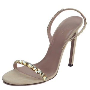 Gucci 370472 Suede Leather Crystals Light Pink Sandals